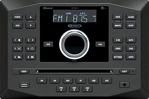 - Jensen JWM60A AM|FM|DVD|CD|USB|AUX|App Ready Bluetooth Wallmount Stereo with App Control, Plays: CD, CD-R, CD-RW, DVD, DVD+RW, DVD-RW, MP3, DVD-Video, MPEG-4, VCD, JPEG, CD-DA, MP3, WMA, Dolby