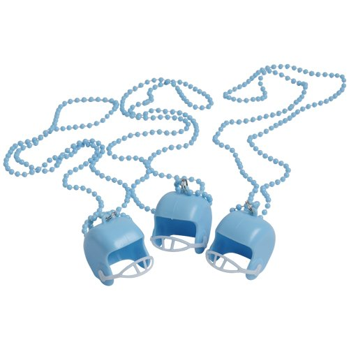 DollarItemDirect LIGHT BLUE BEAD NECKLACES WITH FOOTBALL HELMETS, SOLD BY 19 DOZENS -