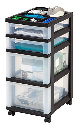 iris 4 drawer rolling storage cart with organizer top black import it all. Black Bedroom Furniture Sets. Home Design Ideas