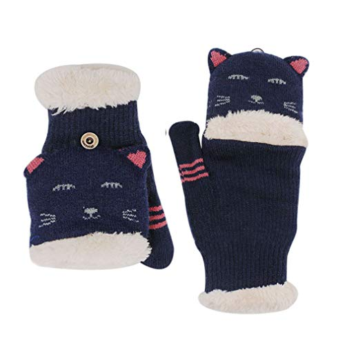 Orityle Winter Knitted Animal Cat Face Mittens Thicken Fleece Lined flap cover Gloves for Women Girl -