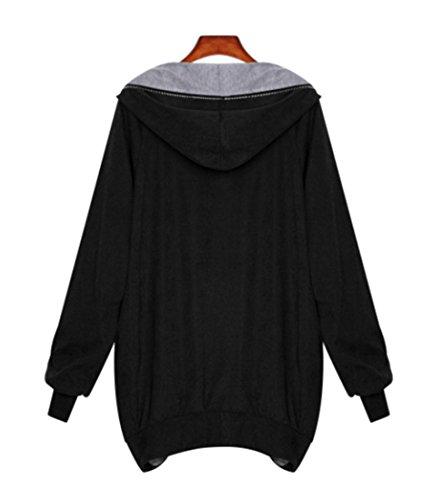 Noir Outwear Femme Capuche Longues Automne Manteaux Coat Casual Irreguliere Et Chaude Oversized Chic Manteau Manches Hiver TZcqX
