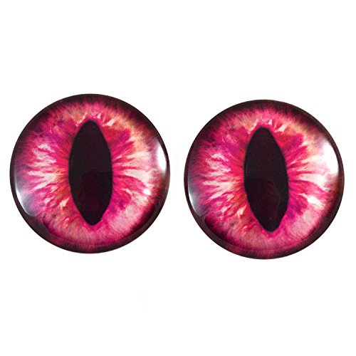 Extra Large 40mm Pair of Hot Pink Cat or Dragon Glass Eyes, for Jewelry Making, Dolls, Sculptures, More