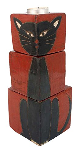 NOVICA Animal Themed Ceramic Candle Holder, Black and Red, 'Black Cats' (Set of 3) by NOVICA