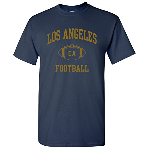 Los Angeles Classic Football Arch Basic Cotton T-Shirt - 2X-Large - Navy/Old Gold ()