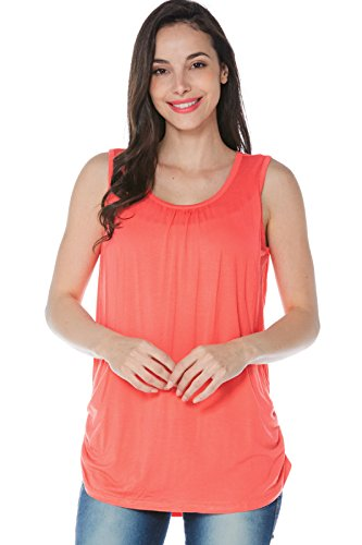 Smallshow Women s Maternity Nursing Tank Top Sleeveless Comfy Breastfeeding Clothes Coral X Large