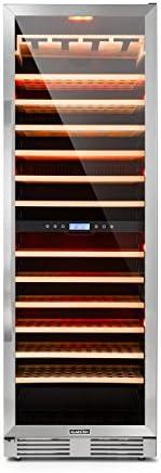 Klarstein Vinovilla Grande - Nevera para vinos, 425 L, 165 botellas, Control táctil, Iluminación LED en 3 colores, Temperatura ajustable, Soporte para copas, 13 estantes de madera, 2 zonas, Plateado[Clase de eficiencia energética G]