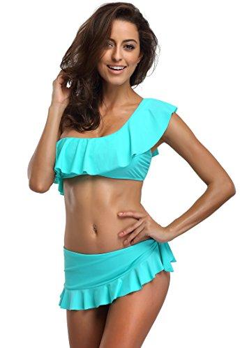 FanShou Women Ruffle One Shoulder Two Piece Bikini Set Swimsuit Swimwear Green (Green Womens Skirt Suit)