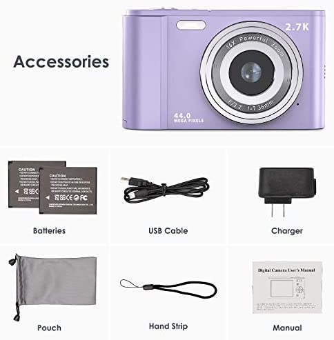 "Digital Camera, FamBrow 2.7K Ultra HD 44 MP Vlogging Camera with 16X Digital Zoom,Point & Shoot Digital Camera with 2.88"" LCD Screen Compact Portable Mini Camera for Beginner,Teens, Kids (Purple)"