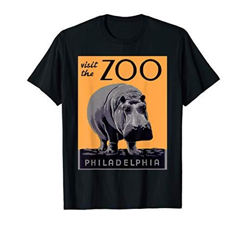 Vintage Hippo TShirt Visit The Zoo Retro Philadelphia Poster ()