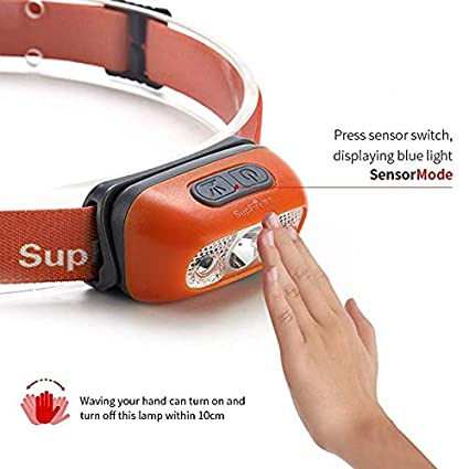 SupFire Headlamp//Head Torch,24 Hrs Runtime Orange Rechargeable 1000mAh Headlight With Four Modes For Climbing Night Running And Hiking,Model HL05