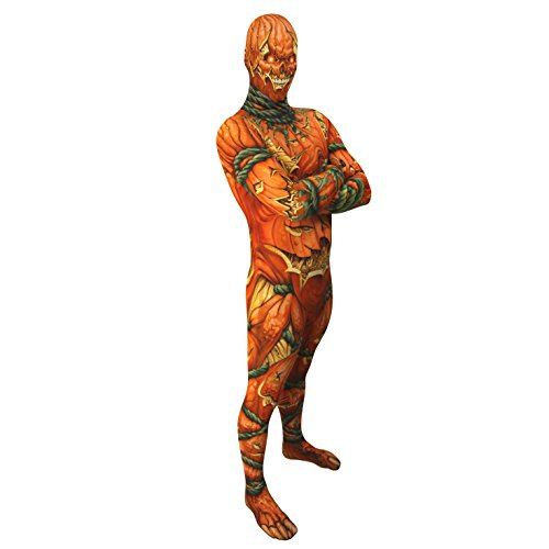 Jack O Lantern Morphsuit Monster Costume - size Large - 5'5-5'9 (163cm-175cm)