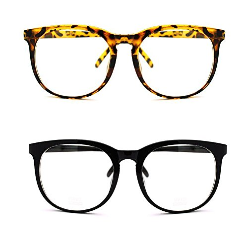 [Large Round Nerdy Thin Frame Glasses Clean Lens (2 Pack Assorted, Clear)] (Super Nerdy Costume)