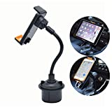 CHAMPLED 2-in-1 Tablet and Smart Phone Car Holder Cradle Stand Drinks Cup Mount Long arm Neck Flexible Adjustable Gooseneck fits FORD Escape Edge F150 F350 F650 250 Focus Fusion Transit Mustang Cougar