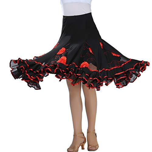 Tookang Falda de Danza para Mujer Falda de Columpio Bordada Traje ...