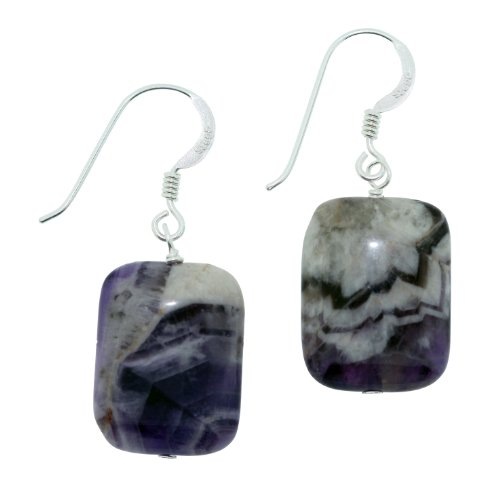 O&G Natural Amethyst Dangle Earrings Set in 925 Sterling Silver