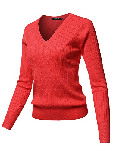 (Solid V-Neck Long Sleeve Viscose Nylon Cable Knit Sweater Top Red M)