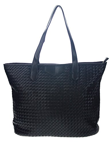 Canal Collection Large-Size Woven Basket Shopping Tote (Black Basket Woven Leather)