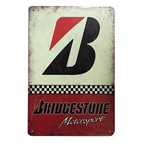 Bridgestone Motor Sport Retro Vintage Tin Sign, Wall Metal Posters Plaques for Home Bar Garage Man Cave, ()