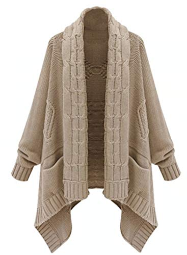 Cappotto Casual Bavero Maglia Cardigan Sciolto Outwear A Invernali Donna Vintage Irregular Giovane Lunga Manica Cerimonia Calda Khaki Moda rBrzx