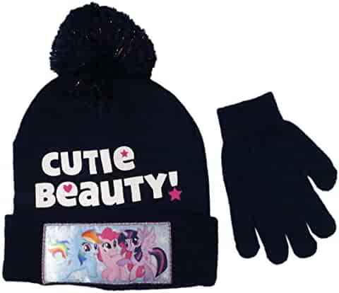 8c4fb4e2a88 Hasbro Girls  My Little Pony Beanie Winter Hat and Glove Set - Size 4-