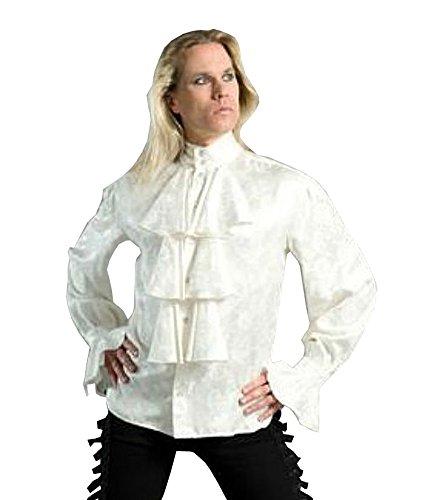 Gothic Dress Shirts (Shrine Louis XIV Gothic Vintage Victorian Poet Vampire White Ruffle Shirt (2XL))