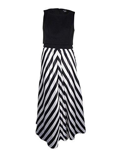 Plus Size Faux 2-Piece Chevron Printed Maxi Dress in Black - Size 18 / M