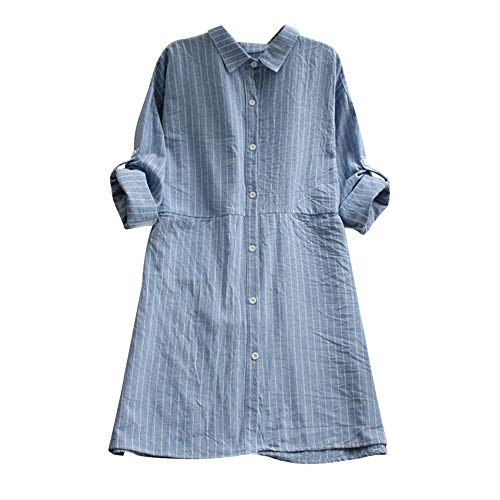 Womens Dress DEATU Clearance Ladies Casual Long Sleeve Cotton Linen Striped Dresses with Pockets(Blue,XL) ()