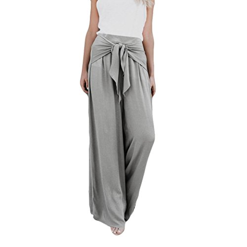 Women's Casual Loose High Waist Wide Leg Bell Bottom Palazzo Flare Pants Leggings (Gray, L) by Kinrui