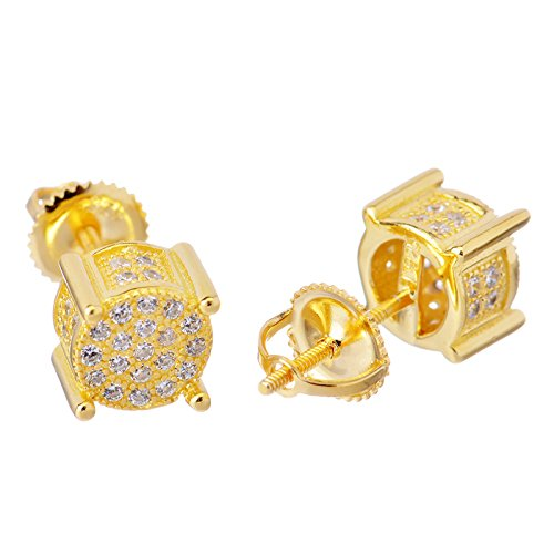 925 Silver Hip Hop Iced Out 14k Gold Plated 3d Round Side CZ Simulated Lab Diamond Screw Back Stud Earring SHS 449 G