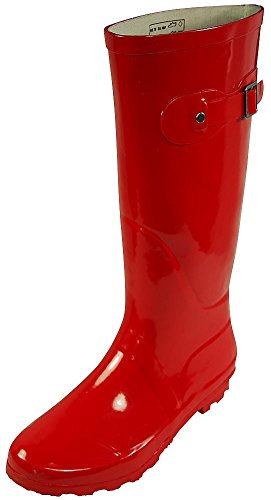 NORTY - Womens Hurricane Wellie Solid Gloss Hi-Calf Rain Boot, Red 38742-9B(M) -
