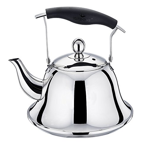 Whistling Tea Kettle, Stainless Steel, Flat Bottom, Bakelite Fold-down Handle, Removable Insert Tea Infuser, Stovetop Available, Metal Silver, (Bakelite Pot Holder)