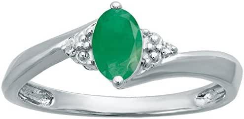 .50 Ct Oval Green Emerald Diamond Ring in Sterling Silver (.01cttw, I-J, I2-I3)