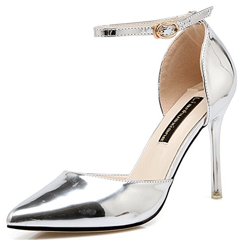 IDIFU Womens Trendy Pointed Toe Stiletto High Heels Pumps Shoes With Ankle Strap Silver Kv0JRKk5TR