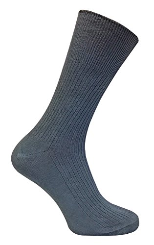 6 Pack Mens 100% Cotton Non Binding Loose Top Lightweight Ribbed Dress Socks (7-12 US, TSFD01)