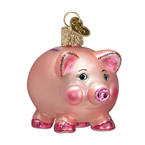 Blown Pig Glass (Old World Christmas Ornaments: Piggy Bank Glass Blown Ornaments for Christmas Tree)