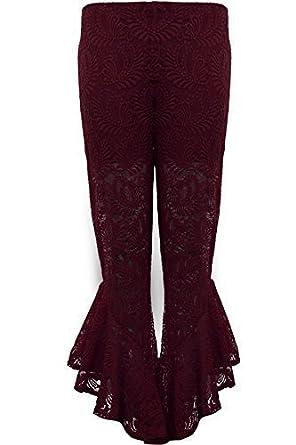 95efb73c95a FANTASIA BOUTIQUE ® Ladies Asymmetric Lace Lined Bell Ruffle Hem Palazzo  Bottom Trousers Shorts  Amazon.co.uk  Clothing