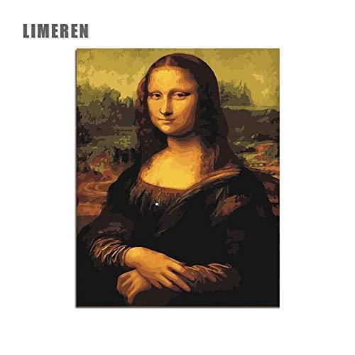 KYKDY Mona Lisa Sin Marco Cuadro Pintura Por Números Arte de la pared DIY Lienzo Digital Pintura Al Óleo Decoración Para El Hogar Para la Sala de estar, 40X50 cm sin marco