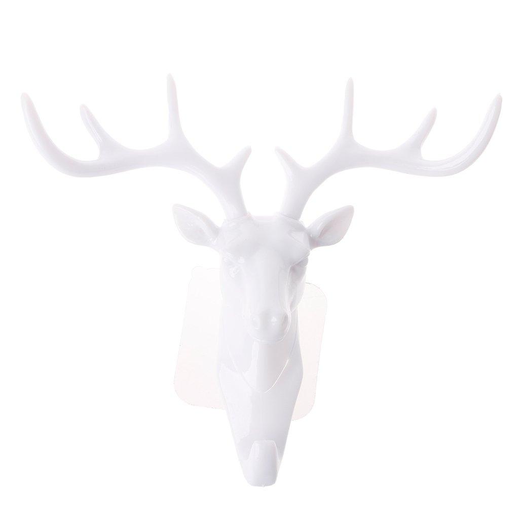 Blanc Exing Porte-cl/és en Forme de t/ête de cerf Crochets muraux cr/éatifs Portemanteau Support /à Sac D/écoration de Maison