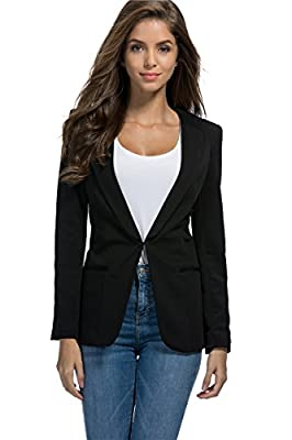 My Wonderful World Womens Slim Fit Casual Work Office Blazers One Button Jacket
