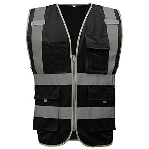 GOGO US Big & Tall 9 Pockets High Visibility Zipper Front Safety Vest With Reflective Strips, Meets ANSI Standards