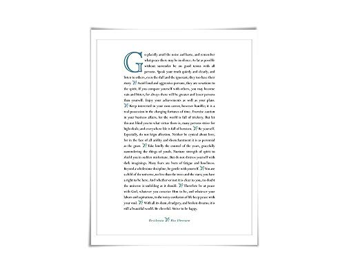 Desiderata Max Ehrmann Art Print. 60 Colours/4 Sizes. Poetry Poster. Inspirational. Graduation Gift (Go Placidly Against The Noise And Haste)