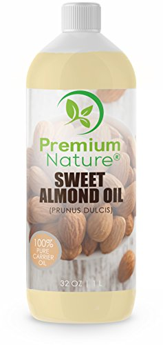 Sweet Almond Oil Best Carrier Oil - 32 oz 100% Natural Pure for Skin & Hair - Cleansing Properties Evens Skin Tone Treats Irritated Skin Nourishes Moisturizes & Prevents Aging - Naturally Moisturizing Clear Moisturizer