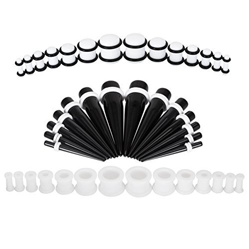 BodyJ4You Stretching Kit Silicone Plugs Tapers 8G-12mm Black and White Gauges Set (Big Starter Set)