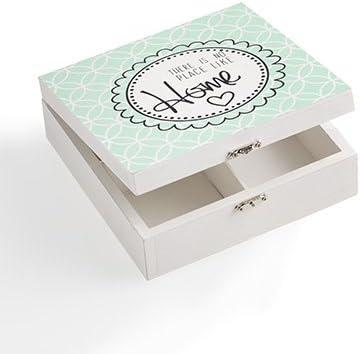MONTEMAGGI Caja cuadrada de madera con 4 compartimentos para tea ...