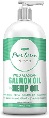 Wild Alaskan Salmon Fish & Hemp Seed Oil for Dogs 16 oz; Natural Liquid Supplement with Omega 3's Support Joint, Heart, and Immune Health; Essential Fatty Acids Promote a Shiny Coat and Healthy Skin
