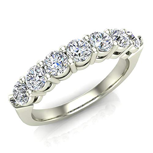 18k 18k Wg Ring - 1.00 ct tw Seven Stone Diamond Wedding Band Ring 18K White Gold (Ring Size 5)