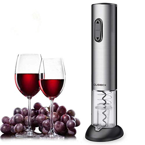 Wine Opener, CUSIBOX Electric Wine Bottle Opener with Foil Cutter, Charging Base and LED Light- Stainless Steel (wine openers 001)