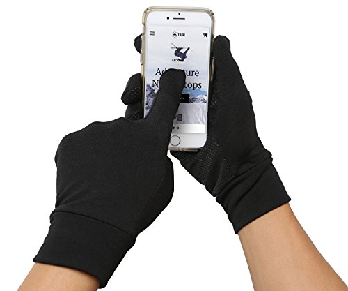 Running Sports Gloves – Touchscreen Compatible – Thermal Glove Liners Designed for Running, Cycling, Texting, Driving – 90% Nylon 10% Spandex Reinforced Blend with Super Grippy Palm – Fits Men & Women