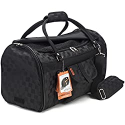 Pet Travel Carrier with Privacy Covers by Prefer Pets - Soft-Sided - Airline Approved with Side Pocket, Velcro Handle & Padded Shoulder Strap - Perfect for Small Dogs and Cats (Deluxe, Black)