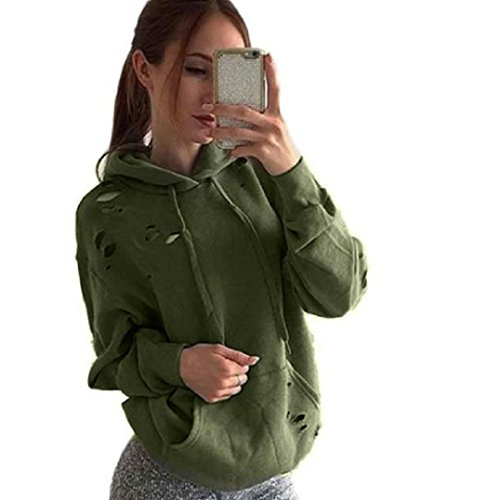 WOCACHI Damen Frauen lösen beiläufige Löcher Langarm Sweatshirt Pullover Tops Shirt Mantel (M, Grün)